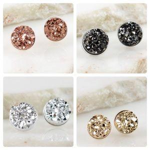 Jewelry - Round Stud Druzy Earrings in 4 Colors